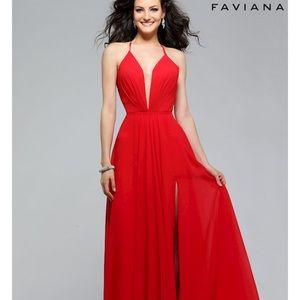 Faviana 7747 Red Prom Dress